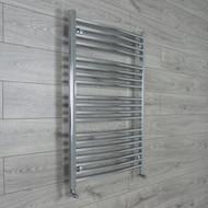 700mm Wide 1000mm High Curved Chrome Heated Towel Rail Radiator angled valves