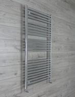 700mm Wide 1300mm High Curved Chrome Heated Towel Rail Radiator angled valves