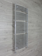 700mm Wide 1500mm High Curved Chrome Heated Towel Rail Radiator with straight valves