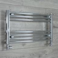 750mm Wide 400mm High Curved Chrome Towel Radiator straight valves