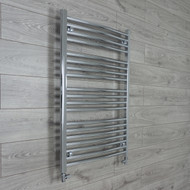 750mm Wide 1000mm High Curved Chrome Towel Radiator straight valves