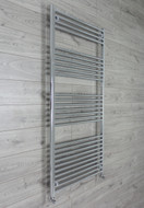 750mm Wide 1600mm High Curved Chrome Towel Radiator with angled valves