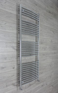 750mm Wide 1800mm High Curved Chrome Towel Radiator with angled valves
