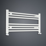 850mm Wide 400mm High Flat White Towel Rail with angled valves
