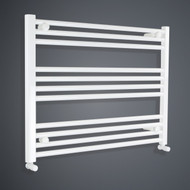 850mm Wide 600mm High Flat White Towel Rail with angled valves
