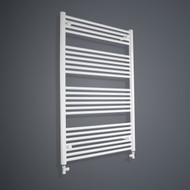 850mm Wide 1200mm High Flat White Towel Rail with straight valves