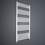 850mm Wide 1800mm High Straight White Towel Radiator with angled valves