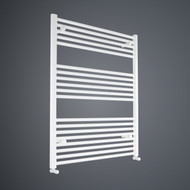 900mm Wide 1000mm High Flat White Towel Rail with angled valves