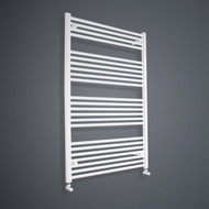900mm Wide 1200mm High Flat White Towel Rail angled valves
