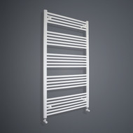 900mm Wide 1400mm High Flat White Towel Rail with angled valves