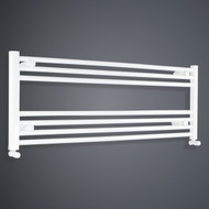 950mm Wide 400mm High Flat White Towel Rail with angled valves