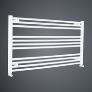 950mm Wide 600mm High Flat White Towel Rail with angled valves