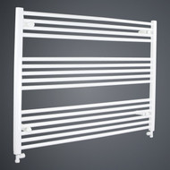 950mm Wide 800mm High Flat White Towel Rail with straight valves