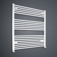 950mm Wide 1000mm High Flat White Towel Rail angled valves