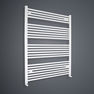 1000mm Wide 1200mm High Flat White Towel Rail with angled valves