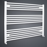 1100mm Wide 800mm High Flat White Towel Rail with angled valves