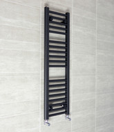 300 x 1000mm Flat Black Heated Towel Rail Radiator