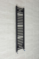 300mm Wide 1200mm High Flat Black Towel Radiator