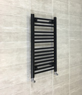 400mm wide 800mm high flat black heated towel rail radiator