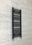 400mm Wide 1000mm High Straight Black Heated Towel Rail Radiator
