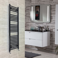 400mm wide 1200mm High Flat Black Heated Towel Rail Radiator