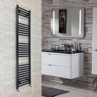 400mm wide 1400mm High Flat Black Heated Towel Rail Radiator