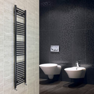 400mm wide 1800mm High Flat Black Heated Towel Rail Radiator
