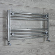 700mm Wide 400mm High Curved Chrome Heated Towel Rail Radiator with angled valves