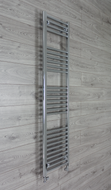 400mm wide 1600mm high flat chrome heated towel rail