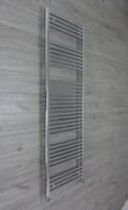 500 mm wide 1856mm high flat chrome heated towel rail radiator angled valves