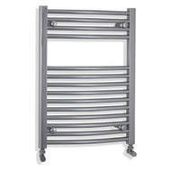 Chrome Heated Towel Rail Radiator Curved 500 x 688 with angled valves