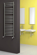 EOS Polished Heated Towel Rail Radiator 600 mm Wide x 1500 mm High Curved