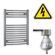 500 x 688 mm Electric Curved Chrome Heated Towel Rail Radiator with thermostatic element