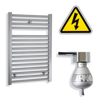 500 x 770 mm Electric Straight Chrome Heated Towel Rail Radiator with thermostatic element