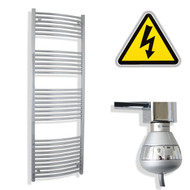 600 x 1800 mm Electric Curved Chrome Heated Towel Rail Radiator with thermostatic element