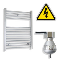 600 x 800 mm Electric Straight Chrome Heated Towel Rail Radiator with thermostatic element