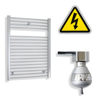 600 x 800 mm Electric Straight Chrome Heated Towel Rail Radiator with hermostatic element