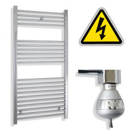 600 x 1200 mm Electric Straight Chrome Heated Towel Rail Radiator with thermostatic element