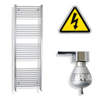 600 x 1800 mm Electric Straight Chrome Heated Towel Rail Radiator with thermostatic element