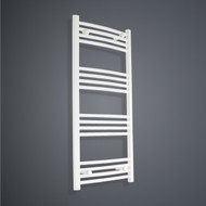 400mm Wide 1100mm High curved White Towel Radiator