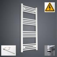 600 x 1100 mm High Electric Prefilled Straight Ladder White Heated Towel Rail Radiator
