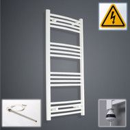 500 x 1100 mm High Electric Prefilled Curved Ladder White Heated Towel Rail Radiator