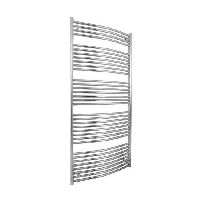 600mm Wide 1650mm high Curved O Profile Chrome Heated Towel Rail Bathroom