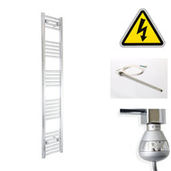 200 mm Wide x 1600 mm High Electric Prefilled Straight Chrome Heated Towel Rail Radiator