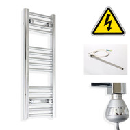 250 mm Wide x 800 mm High Electric Prefilled Straight Chrome Heated Towel Rail Radiator