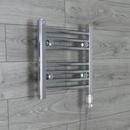 400 mm Wide x 400 mm High Electric Prefilled Straight Chrome Heated Towel Rail Radiator