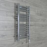 400 mm Wide x 800 mm High Electric Prefilled Straight Chrome Heated Towel Rail Radiator