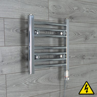 450 mm Wide x 400 mm High Electric Prefilled Straight Chrome Heated Towel Rail Radiator