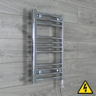 450 mm Wide x 600 mm High Electric Prefilled Straight Chrome Heated Towel Rail Radiator