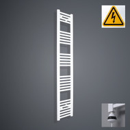 200 mm Wide x 1600 mm High Electric Prefilled Straight White Heated Towel Rail Radiator
